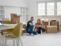 Young couple in new house Stock Image