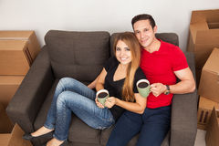 Relaxing in our new apartment Stock Photos