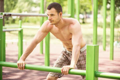 Relaxing In The Outdoor Gym Royalty Free Stock Image