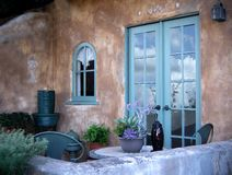 Relaxing outdoor patio, Mediterranean style royalty free stock images