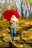 Woman walking in park with umbrella. Relaxing outside concept. Woman walking in park with red umbrella, autumn bright weather Stock Photo