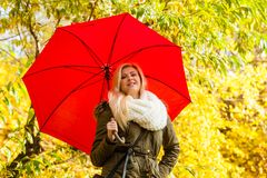 Woman walking in park with umbrella. Relaxing outside concept. Woman walking in park with red umbrella, autumn bright weather Royalty Free Stock Photo