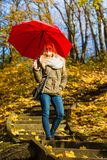 Woman walking in park with umbrella. Relaxing outside concept. Woman walking in park with red umbrella, autumn bright weather Stock Photos