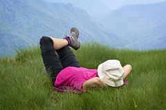 Relaxing over the mountains Royalty Free Stock Photos