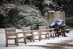Relaxing in park in winter Royalty Free Stock Image