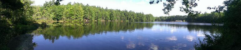 Panoramic view of a pond royalty free stock images