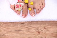 Relaxing pink manicure and pedicure with a orchid Stock Photo