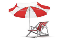 Relaxing Place. Single deck chair and umbrella isolated on white background. 3D rendered image vector illustration