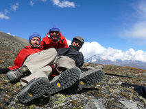 Relaxing on plateau near Tilicho lake, Nepal Stock Images