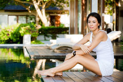 Relaxing By Pool Stock Photography