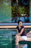 Relaxing By Pool Royalty Free Stock Photos