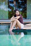 Relaxing By Pool Stock Images