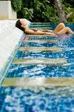 Relaxing In Pool Stock Photo