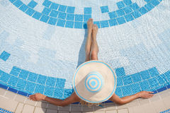Relaxing in pool Stock Image