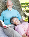 Relaxing Read. Senior man reading to his wife as they relax on a picnic blanket Stock Photography