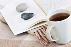Relaxing reading with tea. Relaxing with a book and cup of tea Stock Image