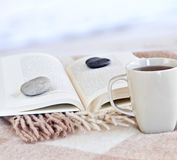 Relaxing reading with tea. Relaxing with a book and cup of tea at the beach Royalty Free Stock Photos
