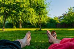 Relaxation. Concept. Lying on the grass Royalty Free Stock Photography