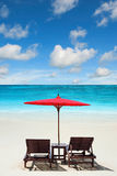 Relaxing on remote beach with blue sky. Relaxing on remote nice beach royalty free stock photos