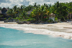 Relaxing on remote Tropical Paradise beach in Royalty Free Stock Photography