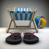 Relaxing. Render of beach chair with ball and  flip-flops Stock Photography