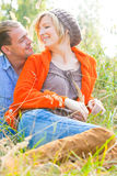 Relaxing romantic couple in nature Royalty Free Stock Photography