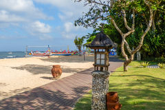 Relaxing on Sanur Beach. Bright and colourful Sanur beach in Bali Stock Photography