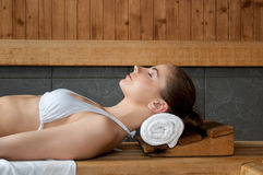 Relaxing at sauna Stock Photos