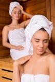 Relaxing in sauna. Stock Images