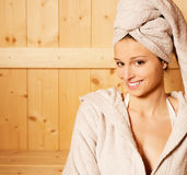 Relaxing in sauna Royalty Free Stock Photos