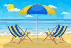 Relaxing scene on a breezy day. At the tropical beach. two deck chair and umbrella Stock Images