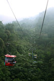 Relaxing and scenic ride in cable car skyway. Cable car travel adventure through the trees in the mist at Malaysia stock images