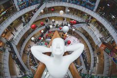 A relaxing sculpture spotted at a shopping mall in Bangkok Thailand. Looks fun Royalty Free Stock Photos