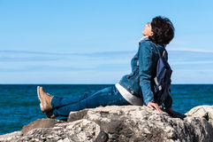 Relaxing on seacoast Stock Image