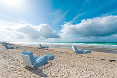 Relaxing seats on the beach Royalty Free Stock Images