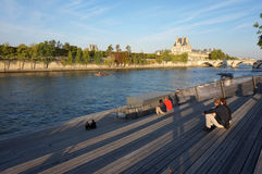 Relaxing by the Seine River Royalty Free Stock Photos