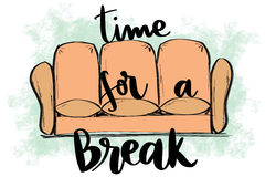 Relaxing sketched couch with time for a break text Stock Image