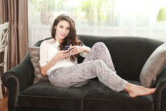 Relaxing on the sofa Stock Photo