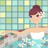 Relaxing spa. Relaxing beauty young lady doing spa Royalty Free Stock Image