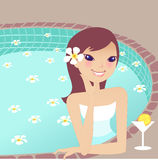 Relaxing spa. Relaxing beauty young lady doing spa Stock Photography