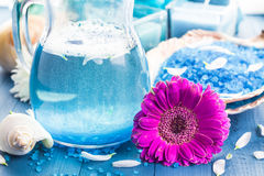 Relaxing spa bath aromatic salt shells flowers Stock Photos