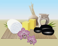 Relaxing Spa items set Royalty Free Stock Image
