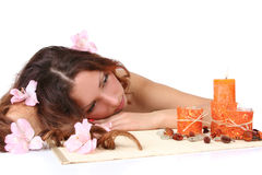 Relaxing in spa salon stock photography