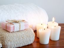 Relaxing spa scene with body products stock images