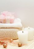 Relaxing spa scene with body products Stock Photography