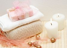 Relaxing spa scene with body products Royalty Free Stock Photo