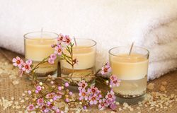 Relaxing spa scene with flowers Royalty Free Stock Photography