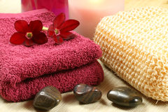 Relaxing spa therapy. Luxury spa resort therapy in claret colour. Relaxation moments Royalty Free Stock Photography