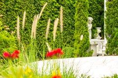 Relaxing space in cozy garden. Royalty Free Stock Photos