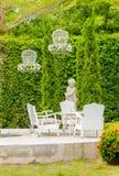 Relaxing space in cozy garden. Stock Photo